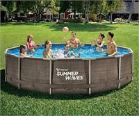Summer Waves 14ft Wicker Metal Frame Pool Set