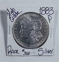 1883-P  Morgan Dollar   AU-details  cleaned