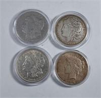 1891, 1921, 1921-D Morgan & 1922-S Peace Dollars