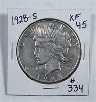 1928-S  Peace Dollar   XF-45