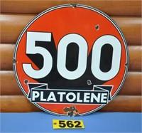 """Vintage 500 Platolene porcelain sign, 18"""" dia"""