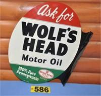 1955 Wolf's Head dealer metal flange sign, NO 024