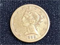 1899-s Half Eagle 5 D. Gold coin