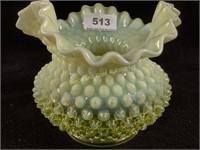 Fenton Topaz Vaseline Hobnail Ruffled Vase