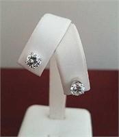 Diamond Stud Gold Earrings 1.85 ctw, GIA- I