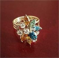 Ladies14k Diamond Cluster Ring