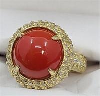 18kt gold, 5.93ct jasper, & diamond ring