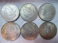 6 silver dollars (5 Morgan ; 1 Peace)