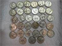 33 Washington quarters - 1964 & earlier