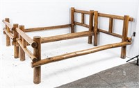 2 Twin Country Cabin Log Bed Frames