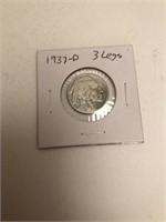 1937-D Buffalo Nickel 3 Legs