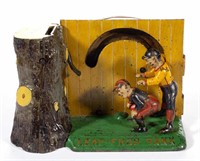 Leap Frog cast-iron mechanical bank, from a collection of banks and toys