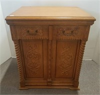 Fancy oak antique sewing machine-cabinet only