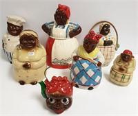 7 ceramic folk art pottery cookie jars, string