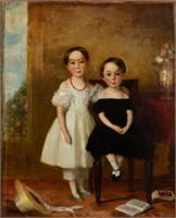 19th-century folk art portrait of siblings