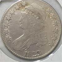 1823 Capped Bust Half Dollar  Large Letters F+