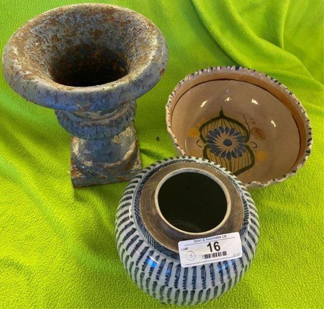 Ceramic Bowl, Oriental Ginger Jar & Cast Iron Urn