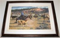 """Framed Tim Cox Print"""" Cowboy Cut"""", 320/950"""