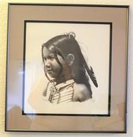 "Framed Cat Deuter Picture/Print, ""Lakota Boy 1984"""