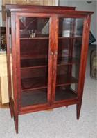 Vintage Tall Curio Cabinet, dark wood, (w/glass doors & wood shelves)