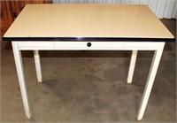 Vintage Table w/Wood Legs & Enamel Top & Drawer