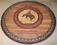 Large Round Area Rug w/Cowboy