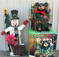 Wood Snowman, Bear In Tree Trunk