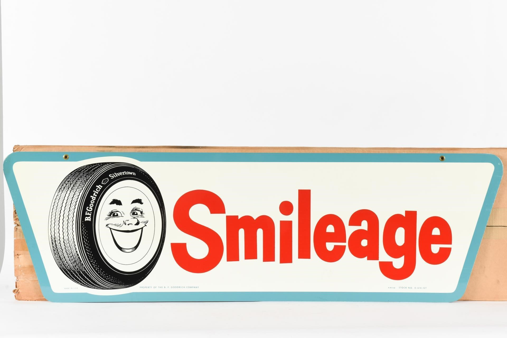 RARE 1960 B.F. GOODRICH SMILEAGE D/S METAL SIGN