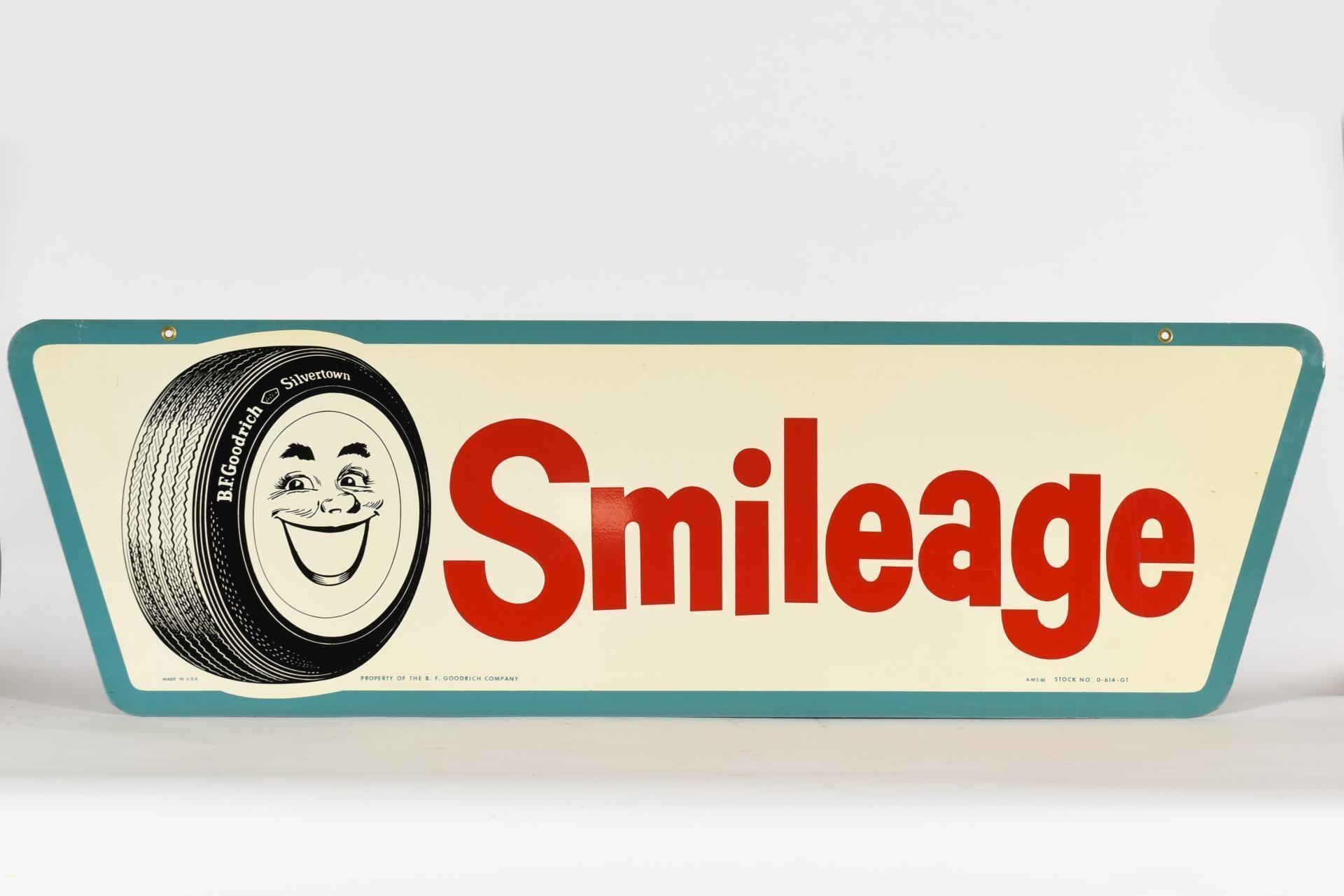1960 B.F.GOODERICH SMILEAGE D/S METAL SIGN / NOS