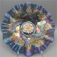 """Mburg 10"""" blue Whirling Leaves 3/1 edge bowl"""