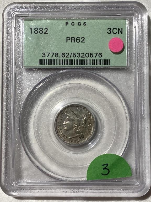 1882 Three Cent Nickel -PCGS PR62
