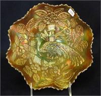 Fenton's Peacock at Urn ruffled bowl