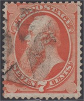 US Stamps #138 Used Reperf at top, clear H CV $525