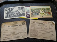 (2) 1943 War Ration Books, w/3 Post Cards one is