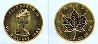1986 Canadian Maple Leaf $50 1 Oz. .9999 Gold Coin