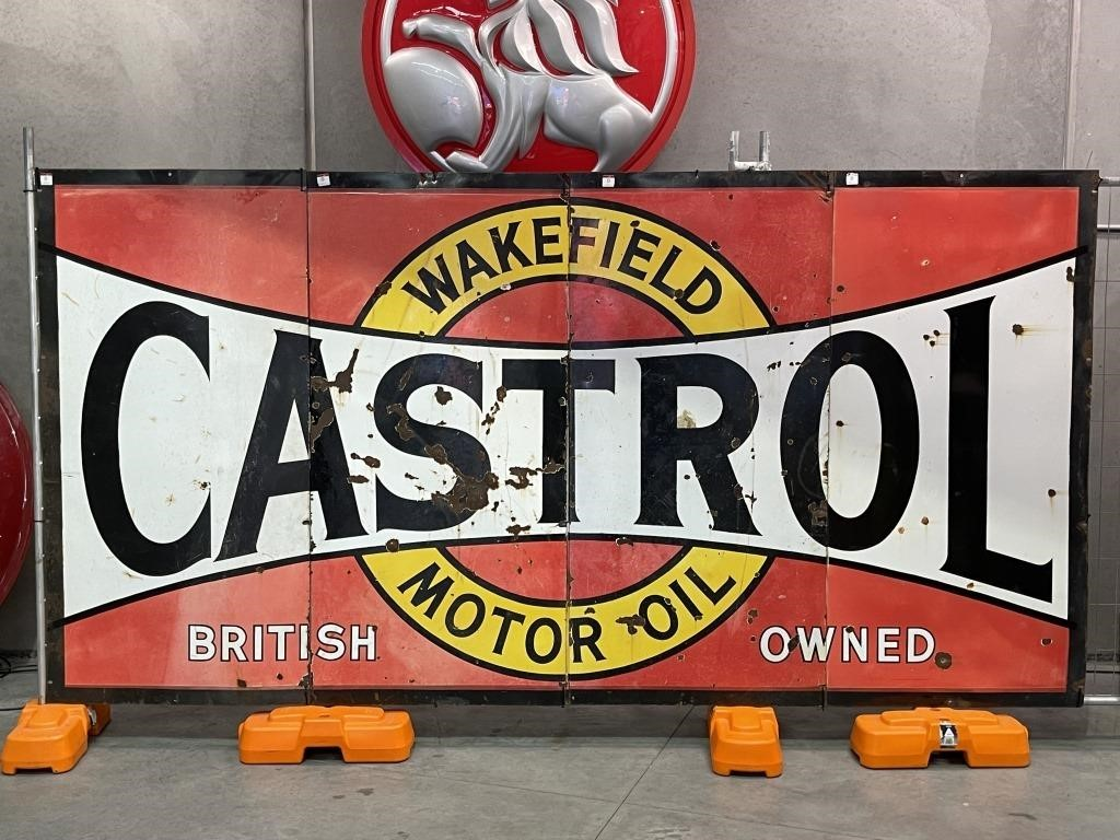 Large Castrol Wakefield 4 Piece Enamel Sign -
