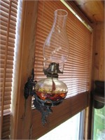 Pair of Oil Lamps w/Brochets