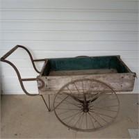 Wooden Push Cart w/ Old Blue Inside