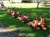 Blow Mold Plastic Santa on Sleigh w/8 Reindeer &