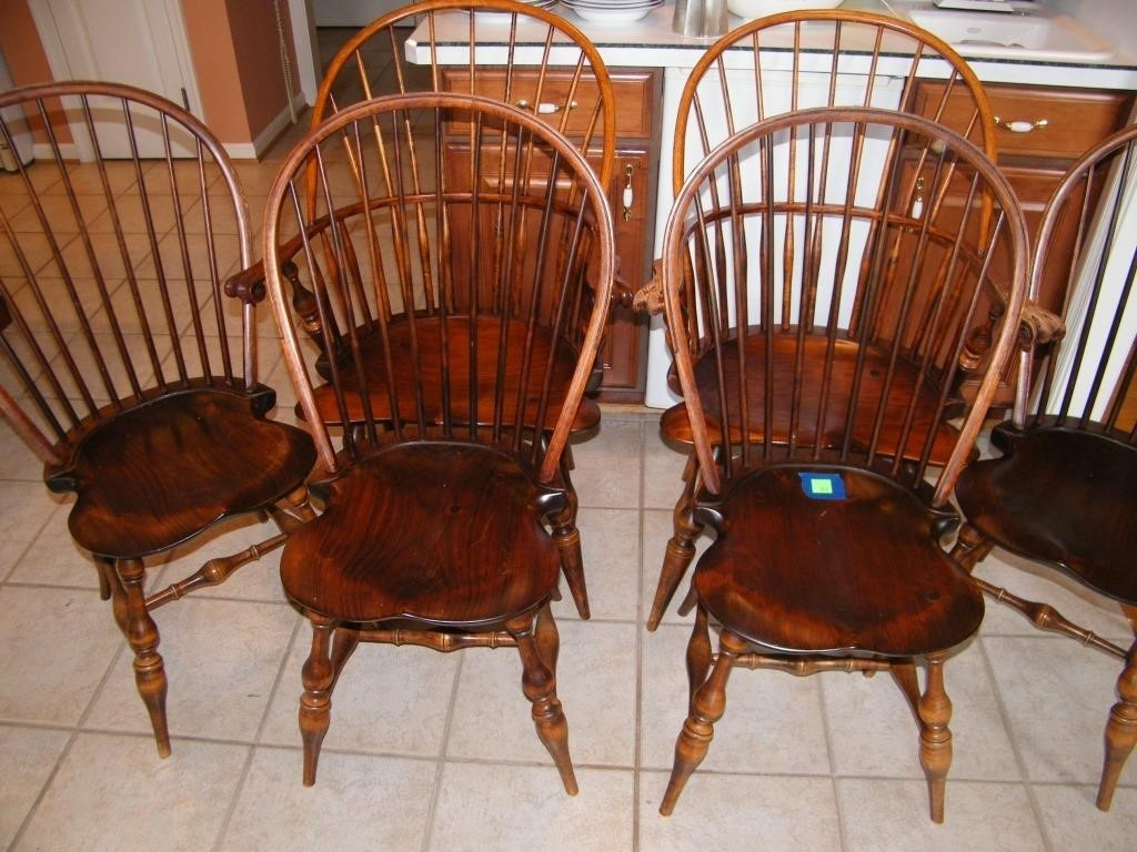 6 WINDSOR CHAIRS MADE BY D. R. DIMES, LOVELY,