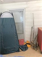 small tent, fishing poles & misc. fishing items