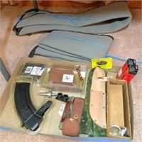 box of gun parts w/Case knife, 30-06 clip & 2-soft