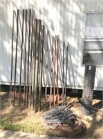 6) 8' , 3) 7', & 6) 6' T posts,new 4x50' dog wire&