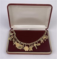 Wonderful Vintage 14k Yellow Gold Charm Bracelet