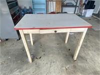 enamel table w drawer red edge