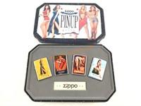 1996 Zippo Salutes Pinup Girls Lighter Set w/ Tin