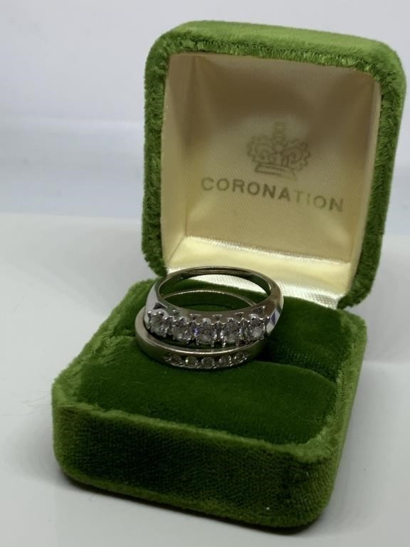 14K WHITE GOLD BRIDAL RING SET HUGE DIAMONDS NOTE