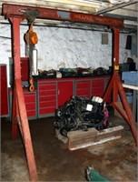 Overhead A Frame Crane w/ 2 Ton Kito Chain Hoist