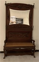 Antique Carved Hall Bench,