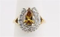 14K Gold Ring w/ 1 Carat Orange/Brown Diamond